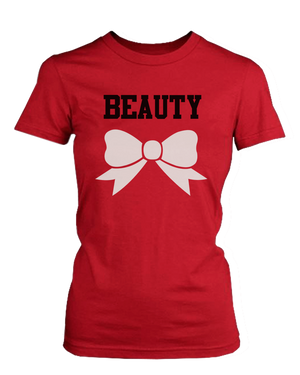 white dumbbell and ribbon couple t shirts