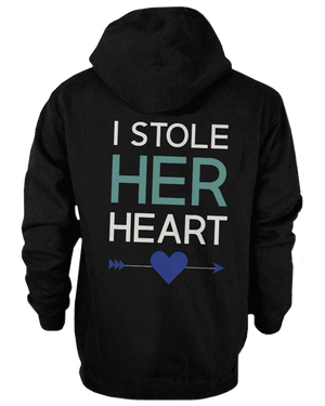 I stole her heart so I'm stealing his couple hoodies