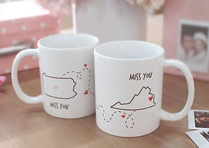 Miss You - Customizable Matching Coffee Mug Sets for Couples and Friends (MC030) - 365INLOVE