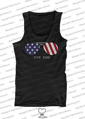 Red White and Blue Collection - Live Free Sunglasses Men's Tank Top - 365INLOVE