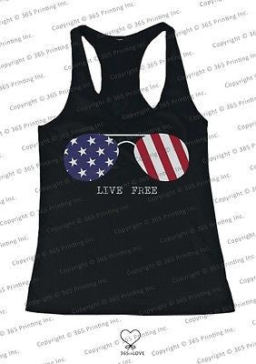 Red White and Blue Collection - Live Free Sunglasses Women's Tank Top - 365INLOVE