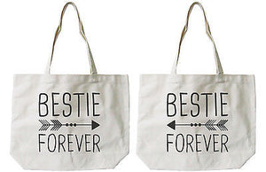 Women's Eco-friendly Bestie Forever BFF Matching Natural Canvas Tote Bag - 365INLOVE