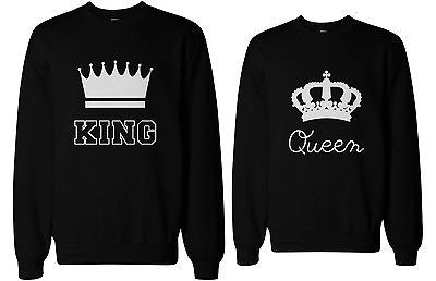 2ad8bb099b King and Queen Couple SweatShirts Cute Matching Outfit for Couples ...