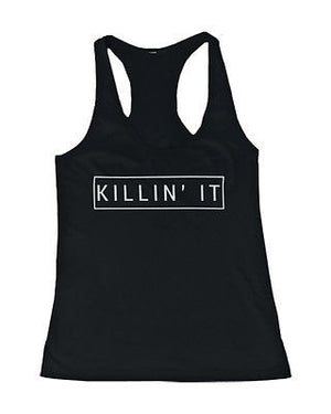 Women's Black Cotton Graphic Tank Top - Killin' It Killing It Tanks - 365INLOVE