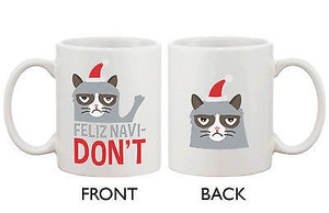 Cute Grumpy Cat Holiday Coffee Mug - Feliz Navidon't Funny Coffee Mug Cup - 365INLOVE