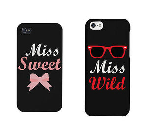 Miss Sweet And Wild Bow And Sunglasses Cute BFF Mathing Phone Cases - 365INLOVE