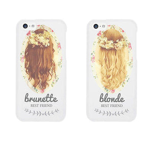 Floral Blonde Brunette Cute BFF Mathing Phone Cases For Best Friends - 365INLOVE