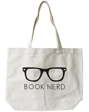 Women's Book Nerd Natural Canvas Tote Bag - 100% Cotton 18.5x14.25 inches - 365INLOVE