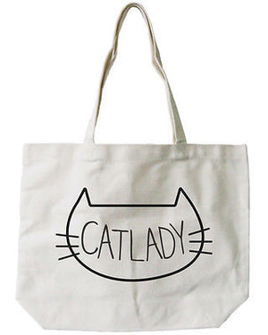 Women's Cat Lady Natural Canvas Tote Bag- 100% Cotton 18.5x14.25 inches - 365INLOVE
