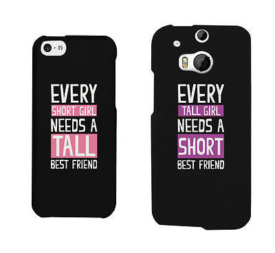 new styles 42340 1a1cd Short And Tall Cute BFF Matching Phone Cases For Best Friends Gift
