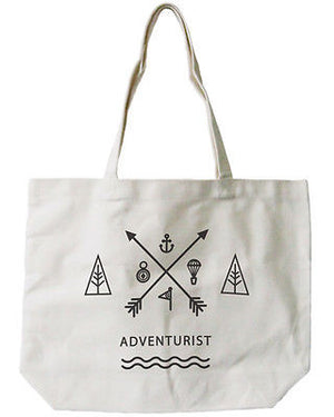 Women's Reusable Canvas Bag- Unique Adventurist Natural Canvas Tote Bag - 365INLOVE
