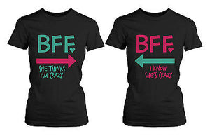 Funny Best Friend Shirts - Crazy BFF Matching Black Cotton T-Shirts - 365INLOVE