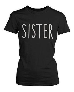 Cute Matching Graphic Shirts for Sisters Black and White Cotton T-shirts - 365INLOVE