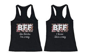 Cute Best Friend Tank Tops - Crazy BFF Floral Print Matching Tanks - 365INLOVE