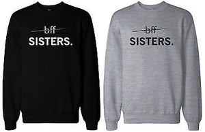 Matching BFF Black and Grey BFF Sister Sweatshirts for Best Friends - 365INLOVE