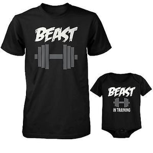 Daddy Beast and Baby Beast in Training Matching T-Shirt and Bodysuit Set - 365INLOVE