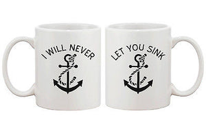Anchor Matching BFF Coffee Mugs for Best Friend - I Will Never Let You Sink - 365INLOVE
