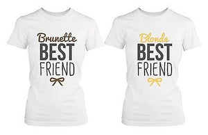 Best Friend Blonde and Brunette Best Friends Matching BFF White Shirts - 365INLOVE