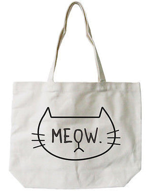Women's Reusable Canvas Bag-Cute Meow Cat Face Natural Canvas Tote Bag - 365INLOVE