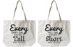 Women's BFF Short and Tall Best Friend Matching Natural Canvas Tote Bag - 365INLOVE