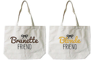 Women's Brunette and Blonde Best Friend Matching Natural Canvas Tote Bag - 365INLOVE