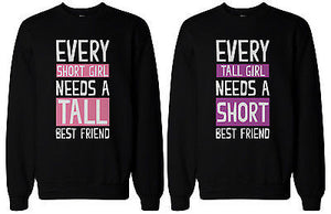 Tall and Short Best Friend Matching Sweatshirts for Best Friends BFF Gift - 365INLOVE
