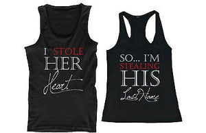 I Stole Her Heart, So I'm Stealing His Last Name Matching Couple Tank Tops - 365INLOVE