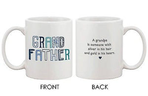 Father's Day Grandpa 11oz Mug for Grandfather -Silver Hair-Gold Heart Cup - 365INLOVE