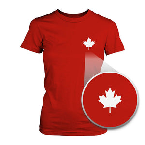 Canada Flag Pocket Printed Shirt Cute Women's Round Neck Tee for Canadian - 365INLOVE