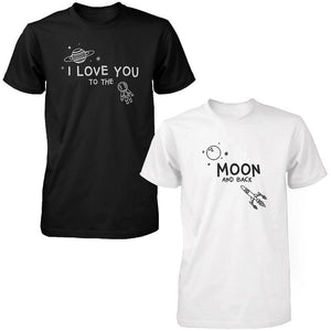 I Love You to the Moon and Back Cute Couple T-Shirts Black and White Matching Tees - 365INLOVE