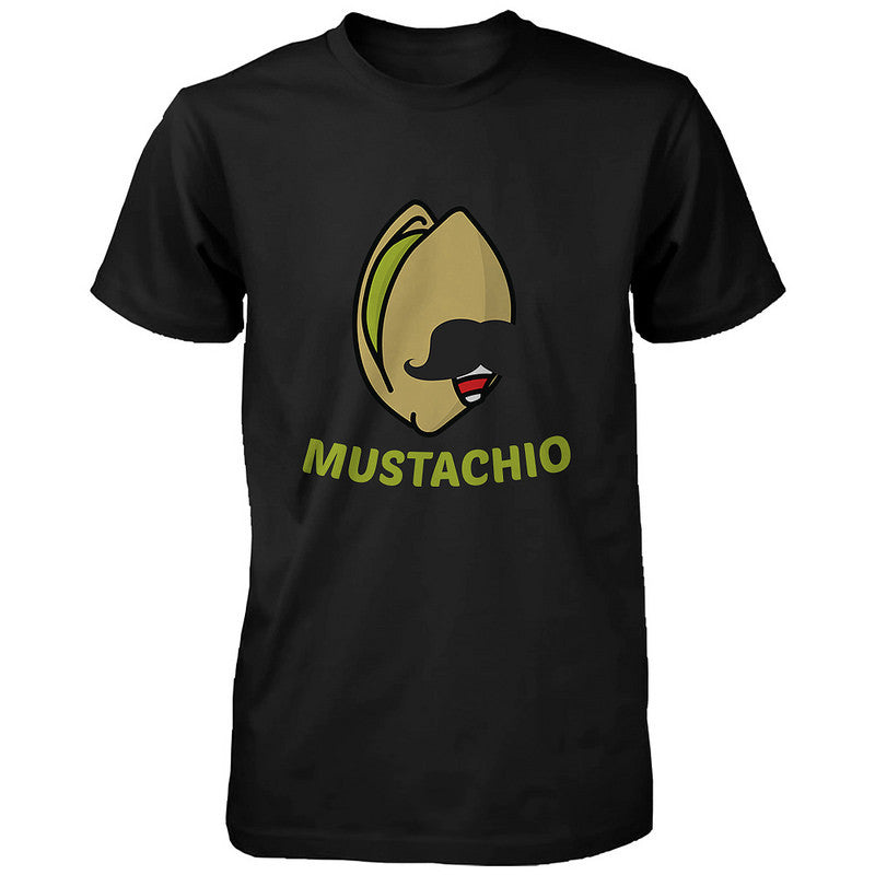 ec0d9440eb70 Mustachio Funny Black Men s T-shirt Round Neck Short Sleeve Graphic ...