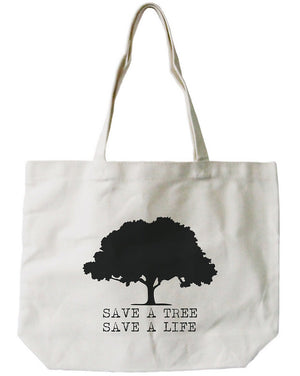 Save A Tree Save A Life Canvas Bag Earth day Tote for Grocery or School - 365INLOVE