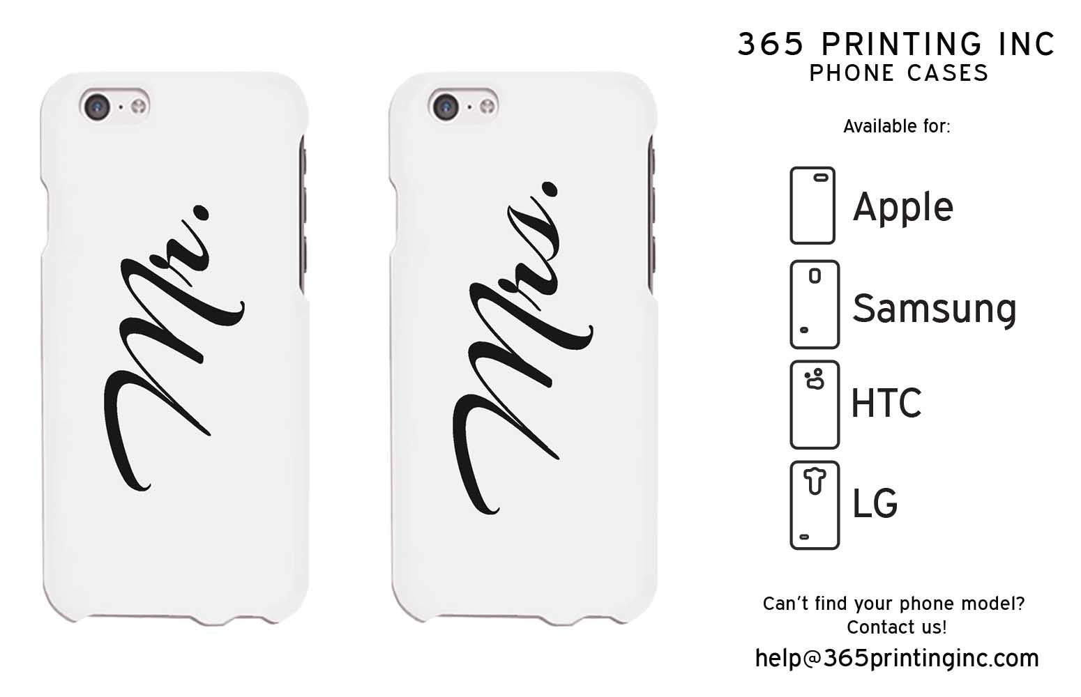 Mr and Mrs Cursive Writing White Phone Case for iPhone