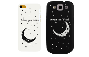 I Love You to the Moon and Back Matching Couple Black & White Phonecases (Set) - 365INLOVE