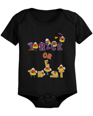 Trick or Treat Cute Candy Corn Baby Snap On One Piece Infant Black Onesies for Halloween - 365INLOVE
