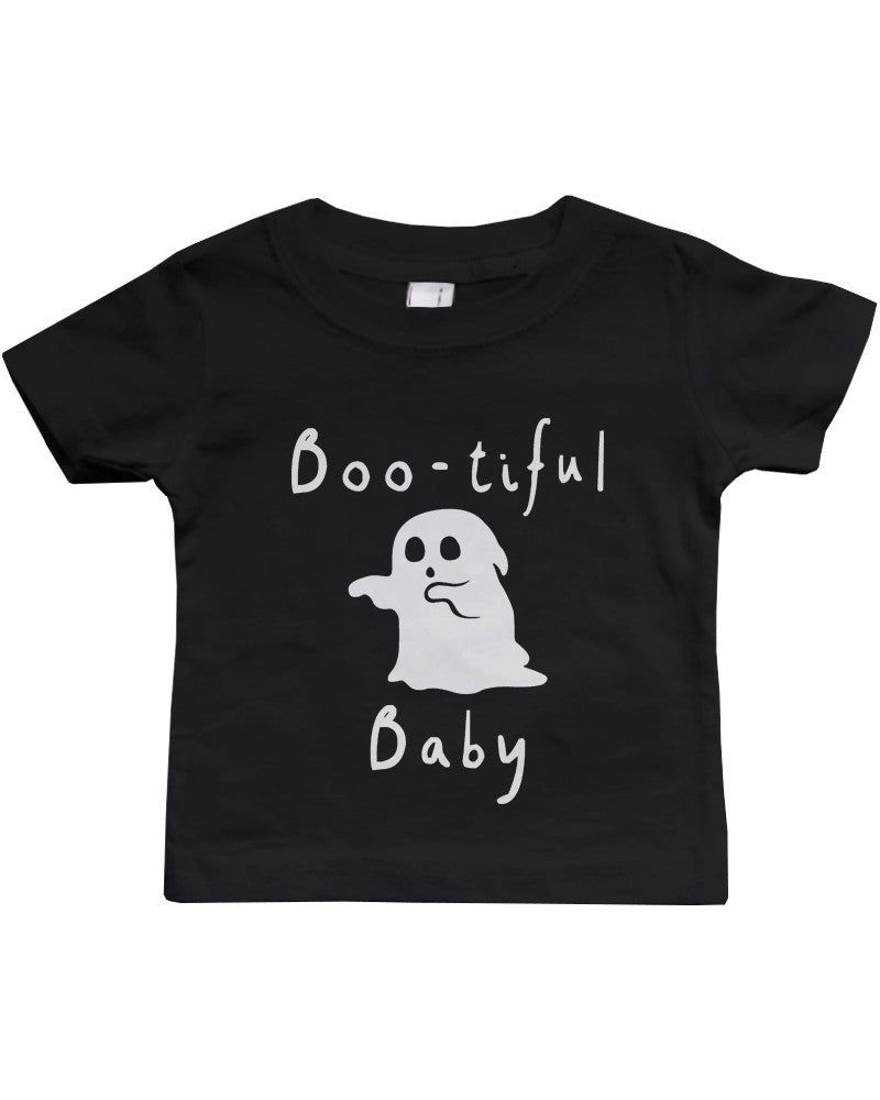 Black t shirt for babies -  Boo Tiful Baby With Cute Little Ghost T Shirt Halloween Black Round Neck Shirt