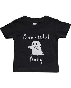 Boo-tiful Baby with Cute little Ghost T-shirt Halloween Black Round Neck shirt - 365INLOVE