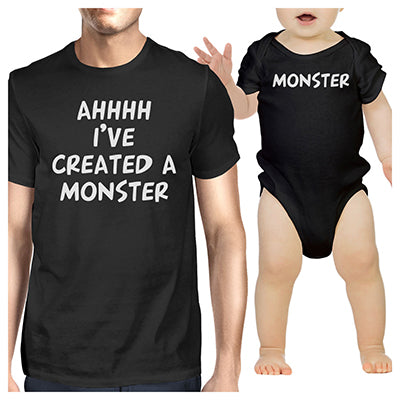 895406ab Daddy and Baby Matching Black T-Shirt / Bodysuit Combo - I've Created A  Monster