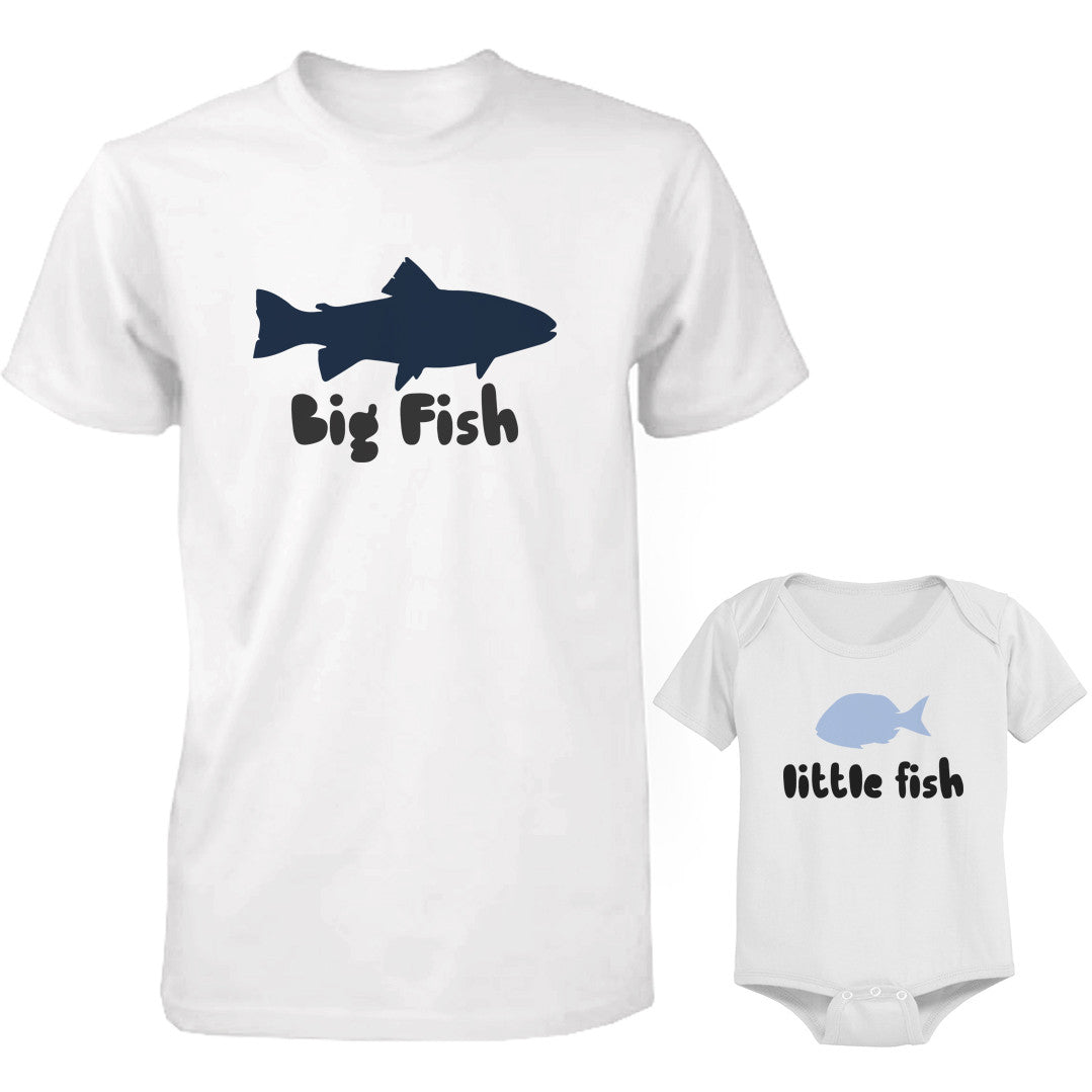 Big Fish And Little Fish Dad And Baby Matching Top Set Parent Shirts