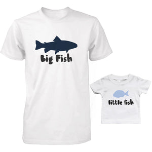 Big Fish and Little Fish Dad and Baby Matching Shirt Set Parent and Kid Cute Tops - 365INLOVE