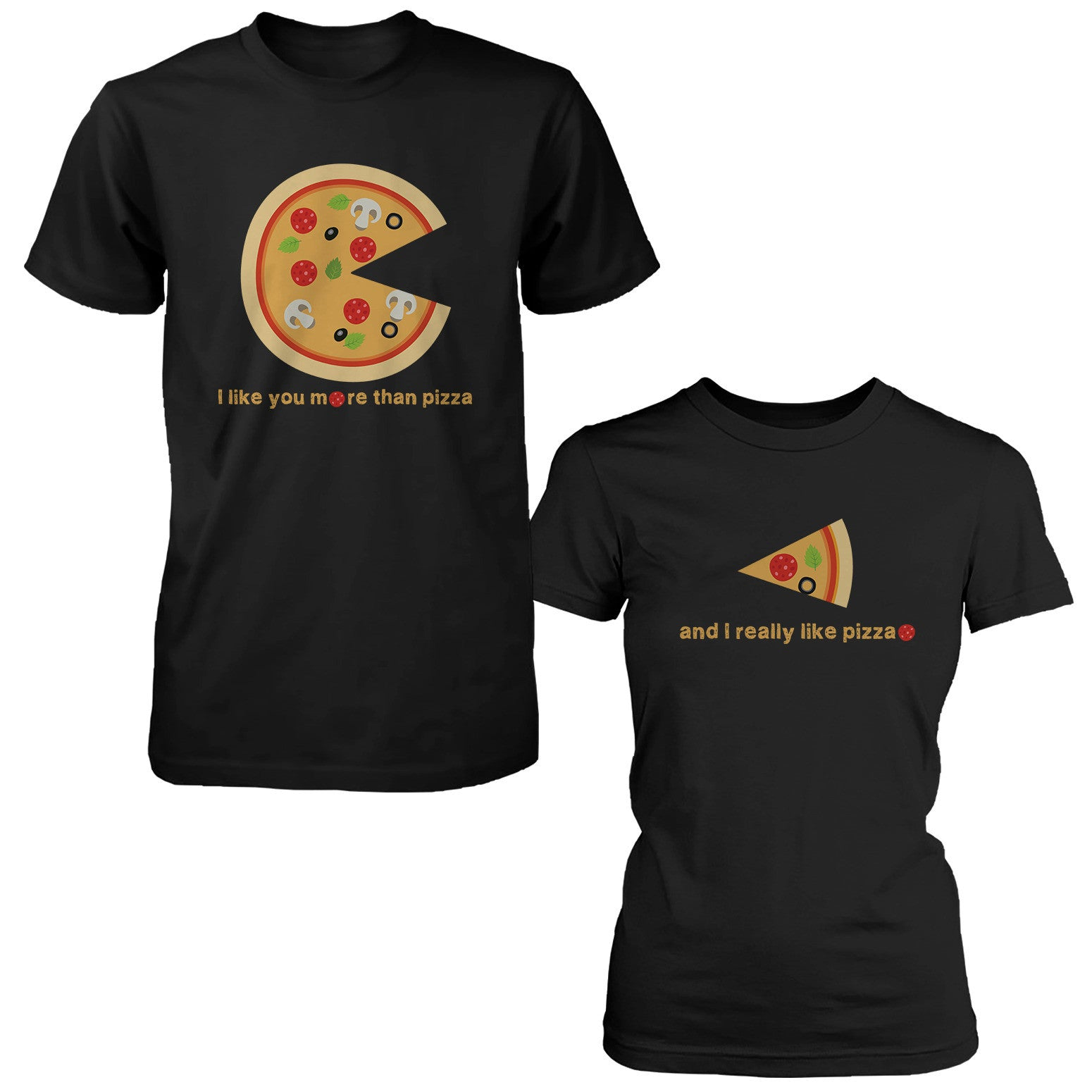 a389c27e I Like You More Than Pizza Matching Couple T-Shirts Valentines Day Gift  Foodies -