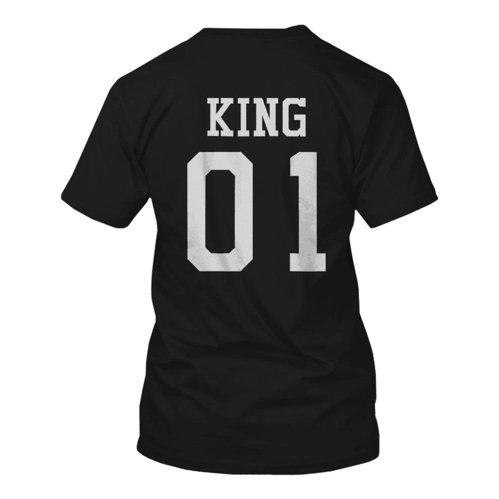 8eb426bf King 01 And Queen 01 Matching Black And White Back Print Couple T-Shirts -