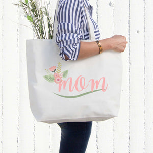 Mom Canvas Bag With Flower Grocery Diaper Bags Mothers Day Gifts For Mother - 365INLOVE