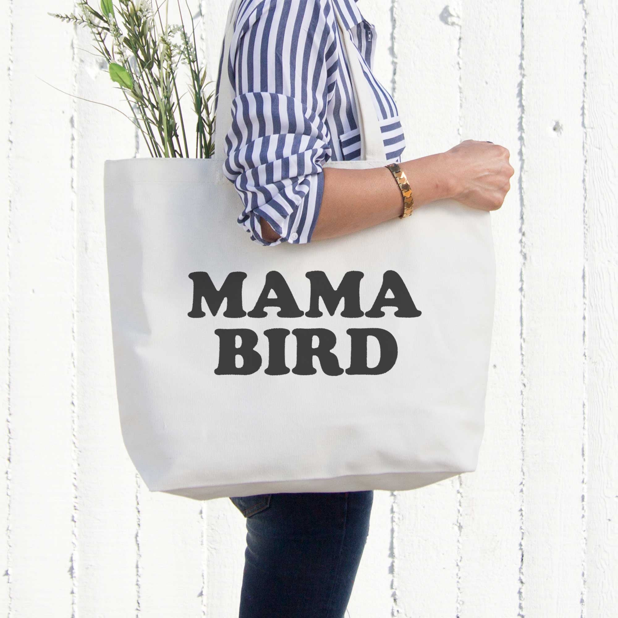 5e703eaddaa Mama Bird Canvas Bag Grocery Diaper Book Bags Gifts For Mom Mothers ...
