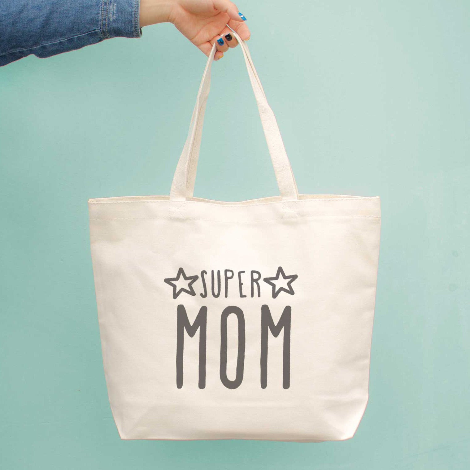 Super Mom Canvas Bag Grocery Diaper Mothers Day Baby Shower Gifts