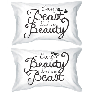 beauty and beast calligraphy pillowcases