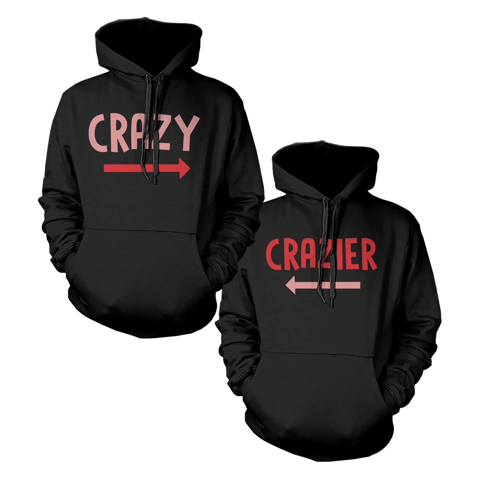 Funny Crazy and Crazier BFF Matching Best Friend Hoodies Front Back ...