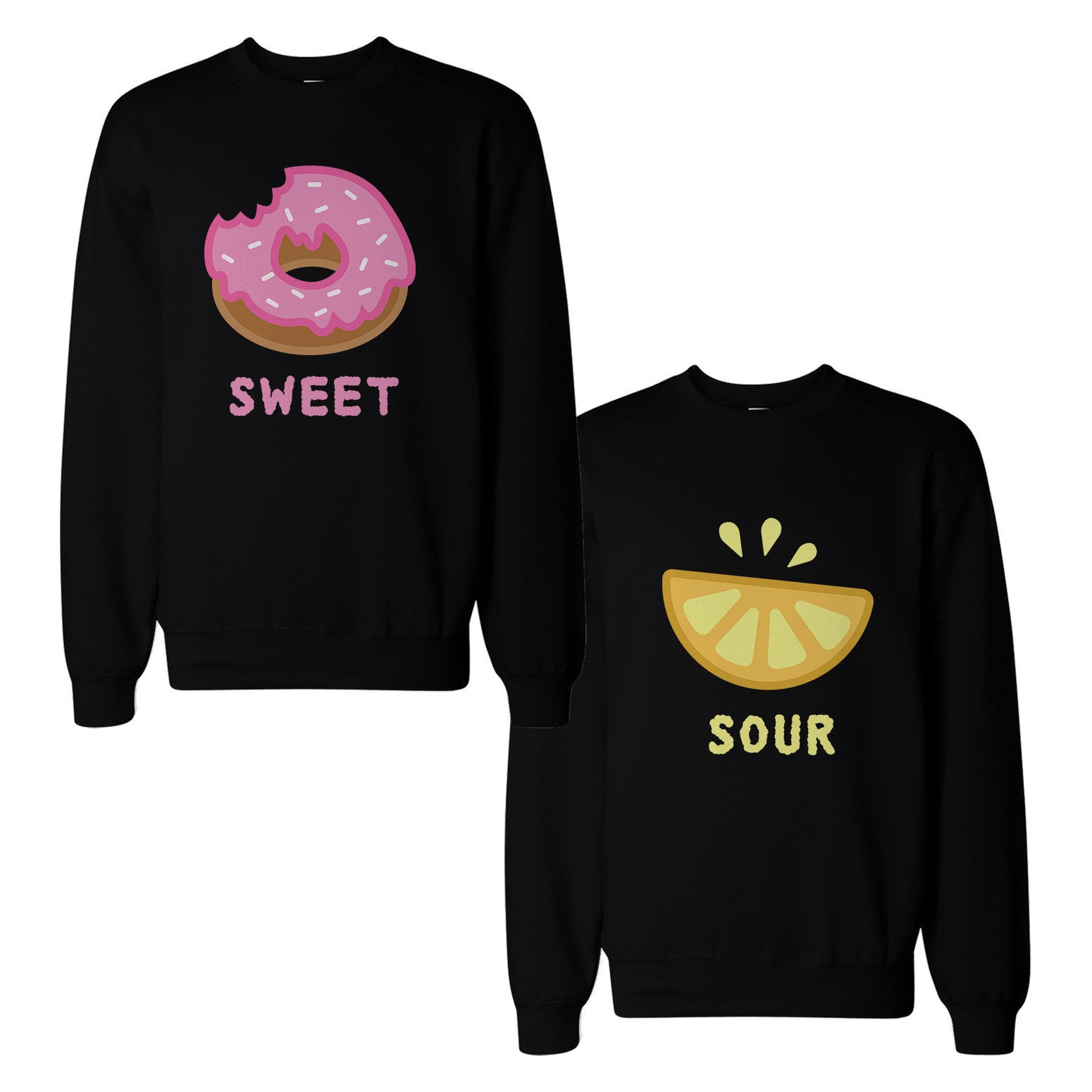 efa7b44385 Cute Sweet and Sour Funny BFF Matching Couple SweatShirts for Best ...