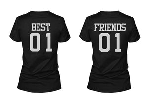 Best 01 Friend 01 Matching Best Friends T Shirts BFF Tees For Two Girls Friends - 365INLOVE