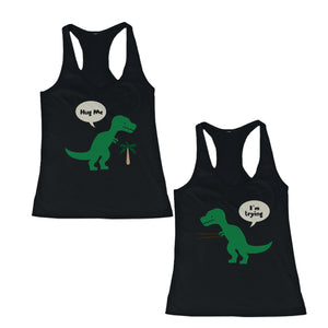Cute BFF T-Rex Hug Me And I'm Trying Best Friend Matching TankTops Shirts - 365INLOVE